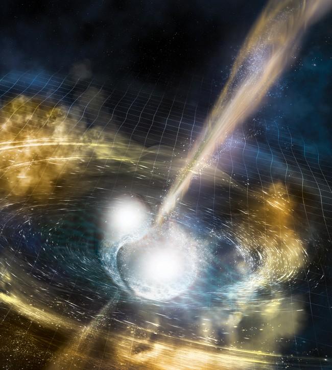 충돌로 합쳐지는 두 중성자별의 상상도. 주변 시공간을 일렁이게 한 중력파가 묘사돼 있다. - NSF/LIGO/Sonoma State University/A. Simonnet 제공